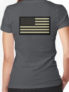 AMERICAN, ARMY, reverse side flag, Soldier, American Military, Arm Flag, US Military, IR, Infrared, USA, Flag, on BLACK Women's Fitted V-Neck T-Shirt