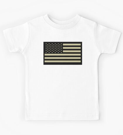 AMERICAN, ARMY, reverse side flag, Soldier, American Military, Arm Flag, US Military, IR, Infrared, USA, Flag, on BLACK Kids Tee