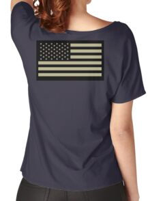 AMERICAN, ARMY, reverse side flag, Soldier, American Military, Arm Flag, US Military, IR, Infrared, USA, Flag, on BLACK Women's Relaxed Fit T-Shirt