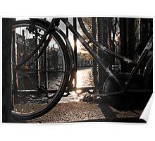 Bicycle on brigde, Amsterdam Poster