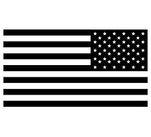 American Flag, ARMY, REVERSE FLAG, Stars & Stripes, US, USA, America, Black on white Photographic Print