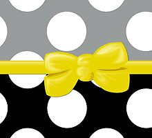 Polka Dots, Ribbon and Bow, White Black Gray Yellow by sitnica