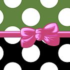 Polka Dots, Ribbon and Bow, White Black Green Pink by sitnica
