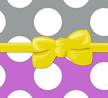 Polka Dots, Ribbon and Bow, Gray White Purple Yellow by sitnica