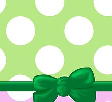 Polka Dots, Ribbon and Bow, Pink White Green by sitnica