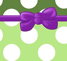 Polka Dots, Ribbon and Bow, White Green Purple by sitnica