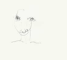 Night Drawings 86 - Always a Selfportrait ? - Eyes closed - 27th July 2013 by Pascale Baud