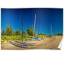 Catamaran Sailboats on the Beach Poster
