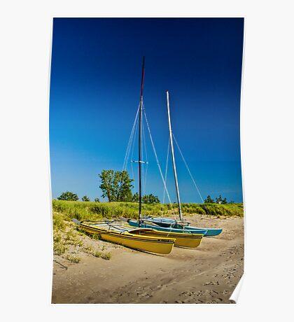 Catamaran Sailboats on a Beach Poster