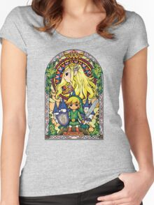 Link and Zelda Stained Glass Women's Fitted Scoop T-Shirt