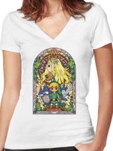 Link and Zelda Stained Glass Women's Fitted V-Neck T-Shirt