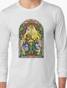 Link and Zelda Stained Glass Long Sleeve T-Shirt