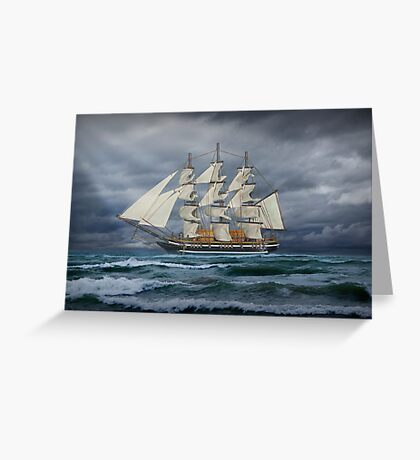 Three Masted Ship on the high seas Greeting Card
