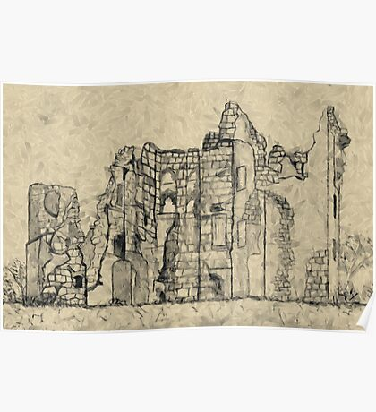A digital painting of my Pencil Sketch of Old Wardour Castle Poster