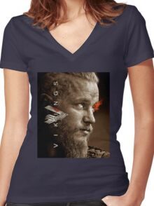 ragnar lothbrok Women's Fitted V-Neck T-Shirt