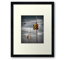 Waiting for the Traffic Light watching Gray Clouds flow by Framed Print