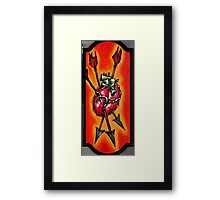 anatomical heart painting with arrows, psychedelic art Framed Print
