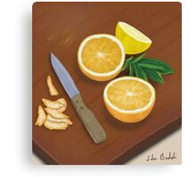 Citrus. Still Life. Digitally Painted Orange and Lemon Slices Canvas Print