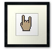 Hand heavy metal Pixel art Framed Print