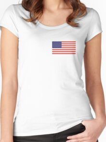 American Flag, LEFT BREAST, Over the Heart, Stars & Stripes, Pure & Simple, America, US, USA Women's Fitted Scoop T-Shirt