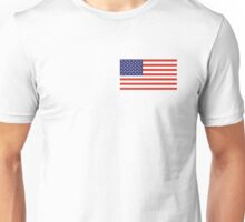 American Flag, LEFT BREAST, Over the Heart, Stars & Stripes, Pure & Simple, America, US, USA Unisex T-Shirt