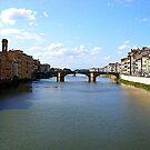 The River Arno From The Ponte Vecchio by Fara