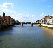 The River Arno From The Ponte Vecchio by Fara