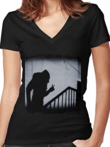 Nosferatu doing the peace sign Women's Fitted V-Neck T-Shirt