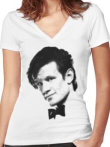 11th Doctor Retro Style Women's Fitted V-Neck T-Shirt