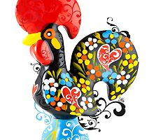 Famous Rooster #01 - Floral Edition by Silvia Neto