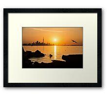 Golden Toronto Skyline at Sunrise Framed Print