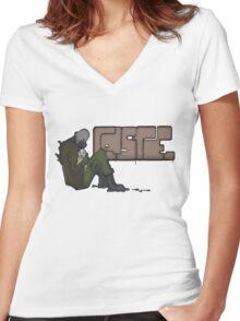 Half-Life 2 Caste Graffiti Women's Fitted V-Neck T-Shirt