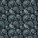 Blue-Gray Pastel Tones Vintage Seamless Paisley Pattern by artonwear