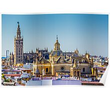 Seville Cathedral and the Iglesia del Salvador. Poster