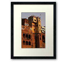 buildings on River Ganges, India Framed Print