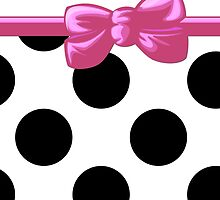 Ribbon, Bow, Polka Dots - Black White Pink by sitnica