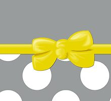 Polka Dots, Ribbon and Bow, Gray White Yellow by sitnica