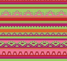 Lace pattern in bright warm colors by CClaesonDesign