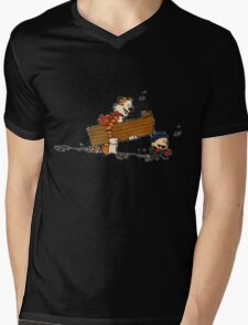 Calvin and Hobbes Winter Mens V-Neck T-Shirt