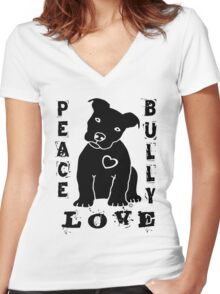 Peace Love Bully - Pit Bull Women's Fitted V-Neck T-Shirt