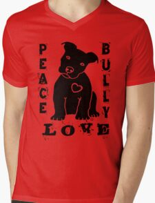 Peace Love Bully - Pit Bull Mens V-Neck T-Shirt