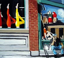 All About the Legs - window display oil painting by LindaAppleArt