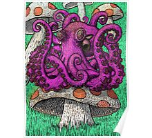 Octopus on Mushrooms Poster