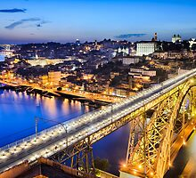 Porto with the Dom Luiz bridge, Portugal by Michael Abid