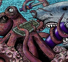 Giant Pacific Octopus versus Great White Shark by Octomanart