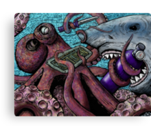 Giant Pacific Octopus versus Great White Shark Canvas Print