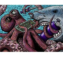 Giant Pacific Octopus versus Great White Shark Photographic Print