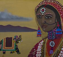 Indian Bride 4 Mixed Media Painting by kreativekate