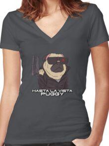 The Pugginator Women's Fitted V-Neck T-Shirt