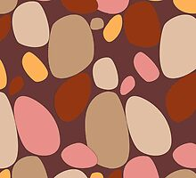 Warm earth colored pebble and stone pattern by CClaesonDesign